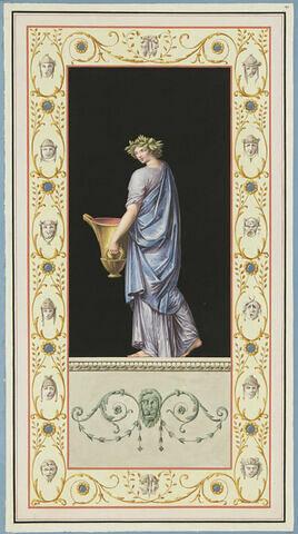 Prêtressse, couronée de laurier, portant un grand vase