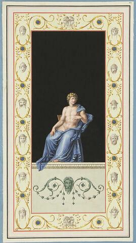 Un éphèbe, vêtu d'une draperie bleue