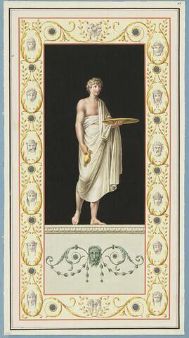 Esclave debout, portant un plateau et une amphore