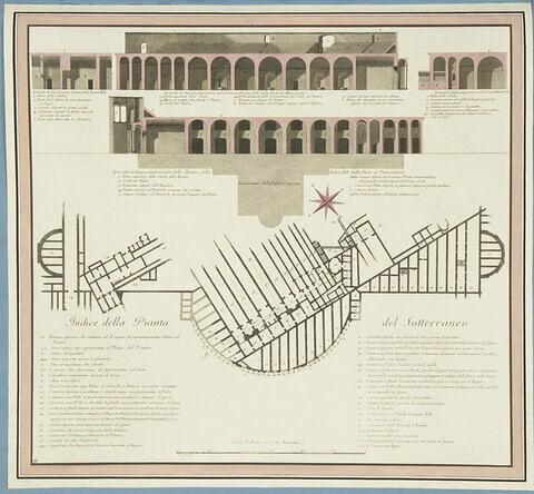 Plan des souterrains des Thermes de Titus avec une légende en italien