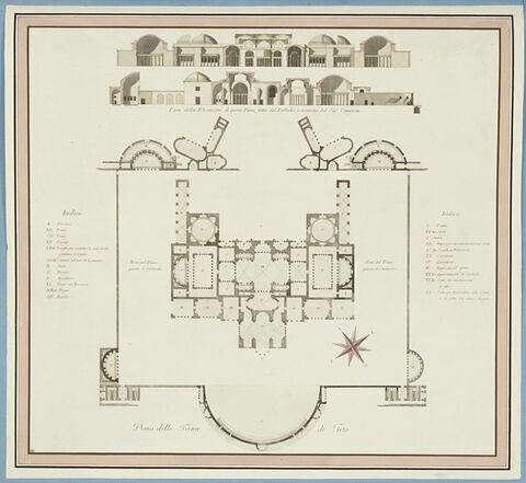 Plan du rez-de-chaussée des Thermes de Titus, et élévation