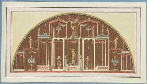 Décoration de voûte représentant un temple ou une galerie avec des statues