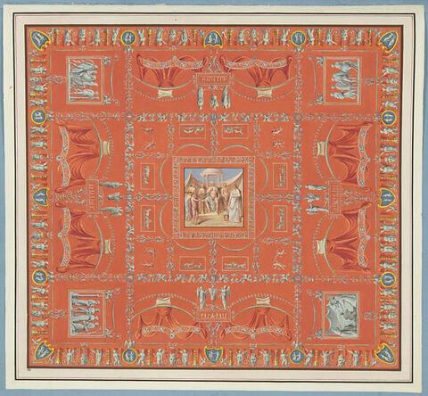 Décoration de voûte avec au centre, le temple de Bacchus