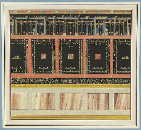 Décoration de mur : Une galerie et des arabesques sur fond noir