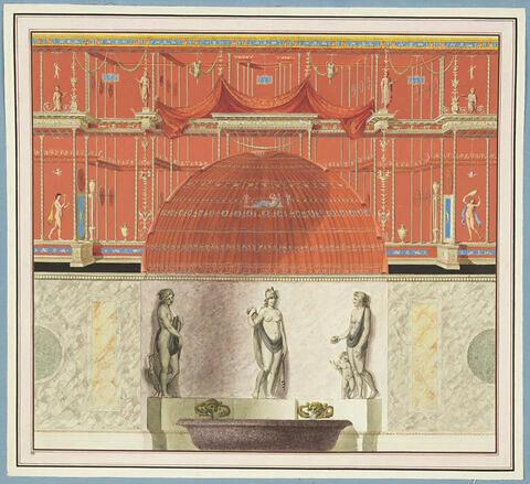 Décoration de mur avec une niche : trois déesses de la sagesse