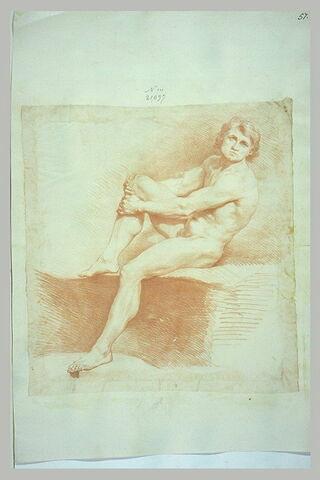 Jeune homme nu, assis, se renversant en arrière
