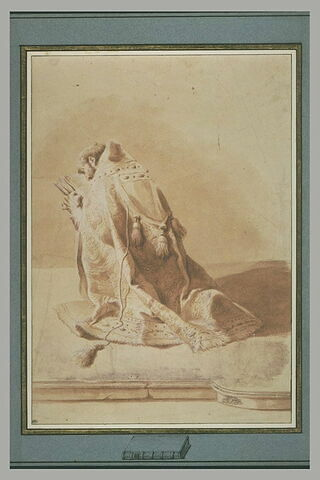 Un évêque à genoux lisant