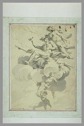 Venus et Adonis assis sur les nuages soutenues par des angelots