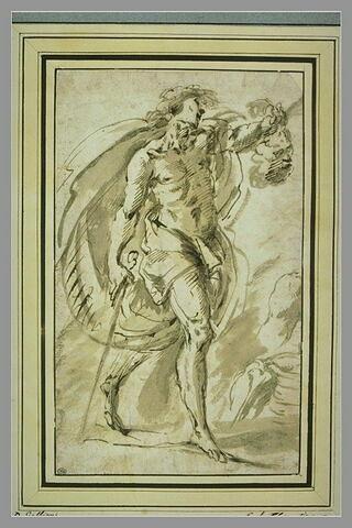David tenant la tête de Goliath ; deux croquis d'anatomie d'épaule et de bras droit