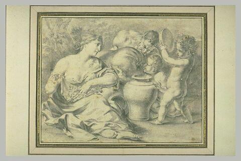 Une femme assise, un faune remplissant un vase et deux enfants nus