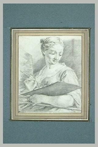 Jeune femme peignant un tableau : allégorie de la Peinture