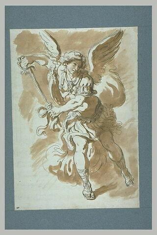 Saint Michel tirant un glaive de son fourreau