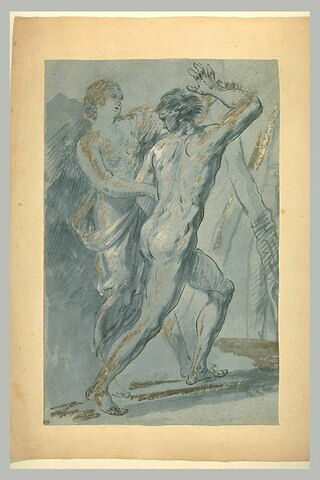 Femme drapée retenant un jeune homme nu voulant s'enfuir