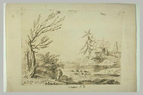 Figures dans un paysage boisé, avec une rivière et des édifices antiques