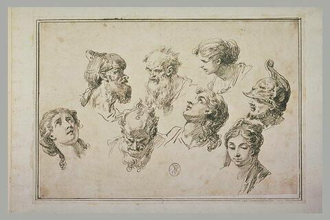 Huit études de têtes dans diverses positions et expressions