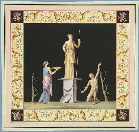 Cérémonie devant la statue de Pomone-Cérès