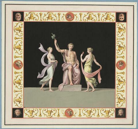 Deux bacchantes dansant devant Dionysos