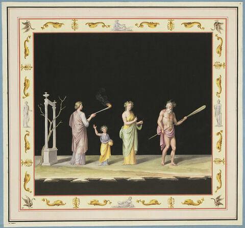 Procession de quatre personnages, tenant une torche et une couronne.