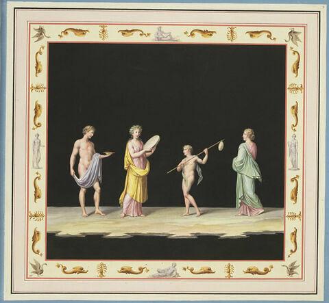 Procession avec des porteurs d'offrandes et une joueuse du tympanum