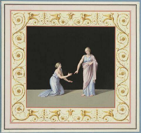 Une jeune fille, la poitrine nue, à genoux, suplie une déesse