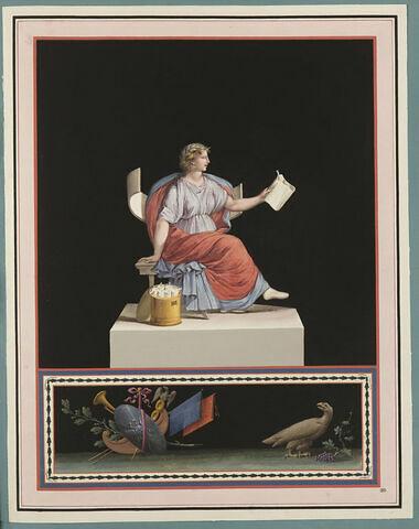 Femme assise, tenant un rouleau déplié, près d'autres dans un sac