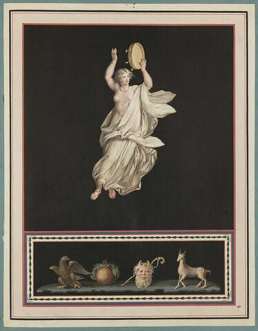 Jeune fille jouant du tambour, dans les airs ; aigle, masque, licorne