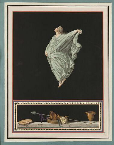 Jeune fille volant, vêtue d'un manteau vert ; corne, vases, lance
