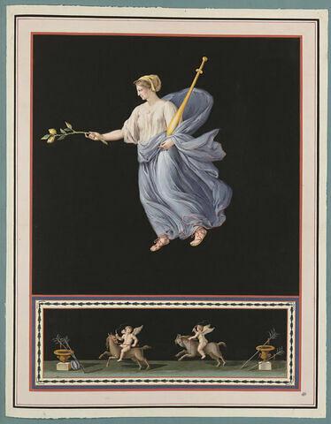 Jeune femme tenant un sceptre et une branche de citronnier ; Putti à cheval