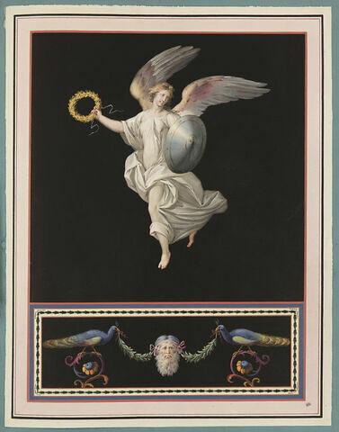 Femme ailée tenant une couronne et un bouclier ; paons autour d'un masque