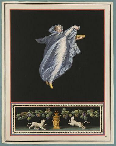 Femme tenant une boite ; deux tigres sous une treille de raisins