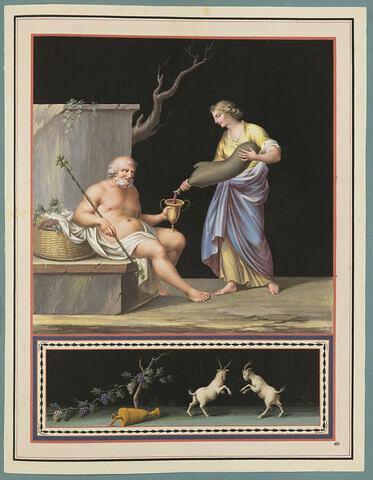 Femme versant du vin dans le vase de Silène ; deux boucs affrontés
