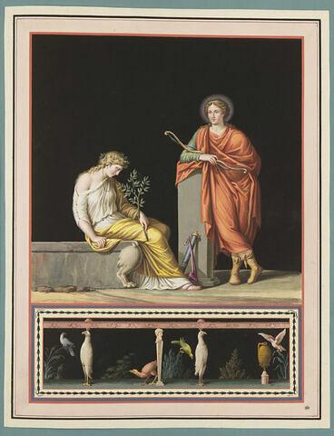Femme assise tenant un rameau d'olivier et une autre debout tenant un arc