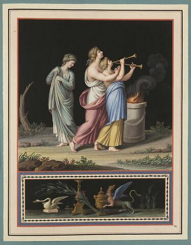 Trois femmes, scène de sacrifice ; dragon et cygne