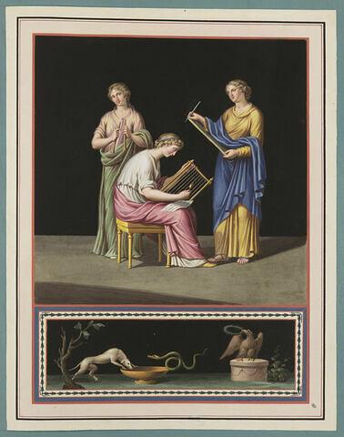 Trois jeunes femmes : l'une écrivant, les deux autres jouant de la musique