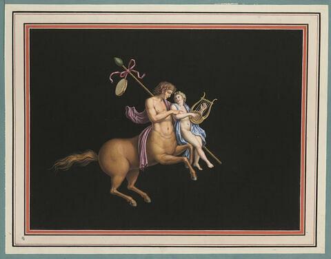 Centaure apprenant à un jeune homme à jouer de la lyre