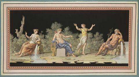 Jeune femme dansant devant Apollon et deux fleuves