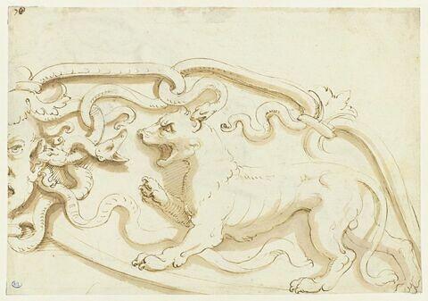 Etude de frise animalière (lion et serpents)
