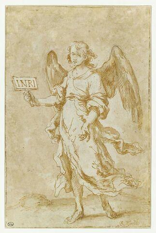 Ange tenant l'inscription INRI