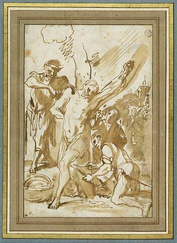 Martyre d'un saint attaché à un arbre (saint Barthélémy ?)