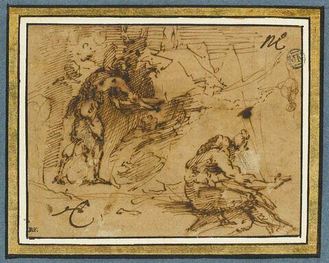 Deux figures tournées vers la droite, dans un paysage