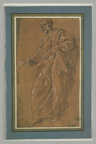 Homme drapé, debout, de profil vers la gauche, tendant sa main droite