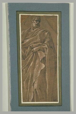 Homme drapé, debout, la tête tournée vers la droite: saint Pierre?