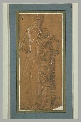 Homme drapé, debout, tenant de sa main droite une bourse : Saint Matthieu