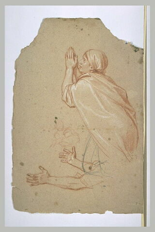 Femme drapée, de profil, les mains jointes