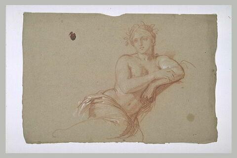 Femme demi-nue, assise