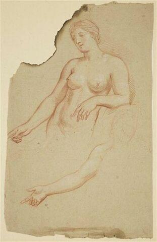 Femme nue, debout, à mi-corps