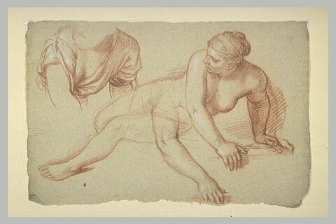 Femme nue, allongée à terre. Femme drapée, à mi-corps