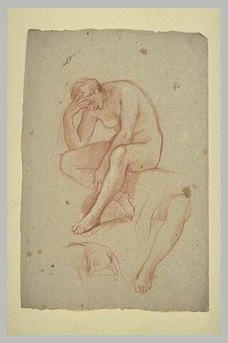 Femme nue assise, la main droite soutenant sa tête penchée