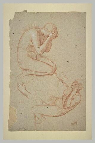 Deux études de femmes nues à genoux