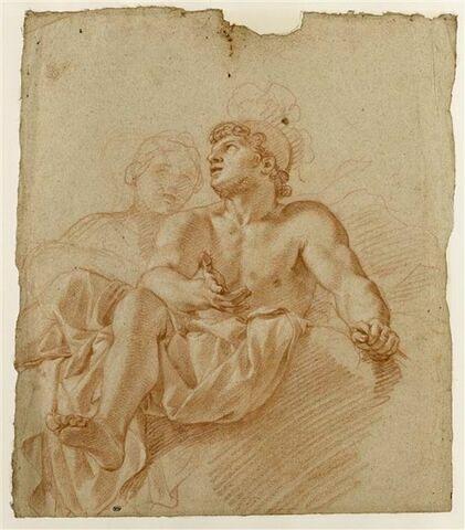 Homme demi-nu, casqué, femme vue en buste